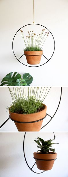 Inspired by vintage hanging plant holders, Angie Johnson has created this modern black hanging planter.