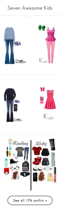 """""""Seven Awesome Kids"""" by sierra-ivy on Polyvore featuring J Brand, Don't Cry, Uniqlo, Ports 1961, Doublju, Gucci, Claudie Pierlot, 7 For All Mankind, J.Crew and Converse"""