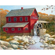 Coca-Cola Old Grist Mill 1500 Piece Puzzle: This 1500-piece jigsaw puzzle is great for the experienced puzzle master or the Coke collector. Produced under license with the Coca-Cola company.  $21.99  http://www.calendars.com/Farm-Life/Coca-Cola-Old-Grist-Mill-1500-Piece-Puzzle/prod1289180/?categoryId=cat180010=cat180010#