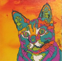 "Seymour the Cat by Jaquita Ball Acrylic ~ 5"" x 5"""