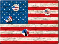 Magnettafel 40 x 30 cm Flagge USA Wall inkl. 4 Magnete