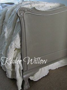 Annie Sloan's French Linen as base and Old White was dry brushed on the detailing. Like this gray/grey Annie Sloan Chalk Painted bedframe headboard/footboard. Credit: Kadee Willow