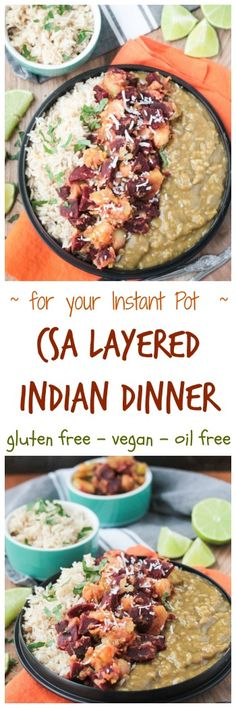 CSA Layered Indian Dinner for the Instant Pot - vegan | gluten free | oil free | pressure cooker | vegetarian | whole foods | plant based via @veggieinspired