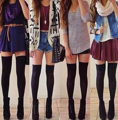 Outfits with over the knee socks // hipster outfits hipster fashion Tumblr Outfits, Hipster Outfits, Girly Outfits, Hipster Fashion, Mode Outfits, Look Fashion, Teen Fashion, Autumn Fashion, Fashion Outfits