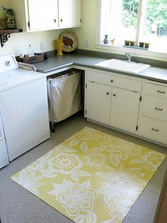 Beautiful anthropologie-inspired freehand painted floorcloth.