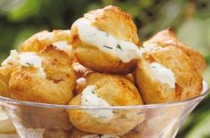 Cheese and chive puffs - make a great savoury alternative to your afternoon tea cake or a cheesy choux pastry treat that the whole family can enjoy (cream puff filling savory) Easy Canapes, Canapes Recipes, Lunch Recipes, Appetizers, Afternoon Tea Cakes, Afternoon Tea Recipes, Pastry Recipes, Cheese Recipes, Cooking Recipes