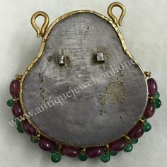 Old Krishna Radha Rukmani Pendant (coverted from hair ornament) Added rubym emerald beeds with hook. WEIGHT :  35.77 grams