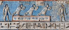 [EGYPT 29557]<br /> 'Ba souls on the astronomical ceiling at Dendera.'<br /> <br /> Three souls in the form of human-headed birds inhabit the astronomical ceiling in the outer hypostyle hall of the Hathor Temple at Dendera.<br /> The ceiling consists of seven separate strips but here we are looking at a detail of the lower register of the FIRST STRIP EAST from centre. This ceiling strip deals with the daily voyage of the sun god across the sky and for everyone of the twelve hours the sun is…