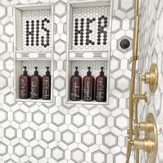 Photo shared by Krissy | Home Decor & DIY 🛠 Modern Bathroom Showers His and Hers - Refillable Shampoo and Conditioner Bottles - Beautiful Bathroom Shower - Modern Home Decor and Organization - Interior Design Trends