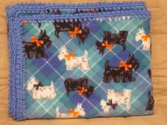 Fleece Blanket with Black and White Scottie Dogs on Blue and Green Plaid Background