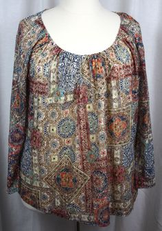 American Rag Womens Peasant Style Fully Lined Long Sleeve Plus Size Top 3X #AmericanRagCie #Peasant #Versatile