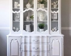 Excited to share the latest addition to my shop: Gorgeous White Vintage French Provincial China Cabinet/Hutch/Storage Cabinet with China Cabinet Redo, China Cabinet Display, Cabinet Decor, Painted China Cabinets, Country Furniture, Farmhouse Furniture, Repurposed Furniture, Painted Furniture, French Provincial Dresser