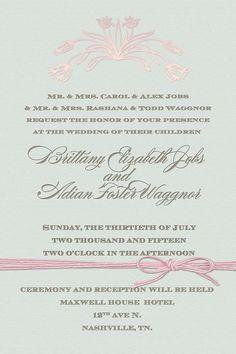 Elegant mint green and pink wedding invitation
