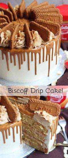 A Three Layer Biscoff Drip Cake with Brown Sugar Sponges, Biscoff Buttercream, White Chocolate Ganache, a Easy Cheesecake Recipes, Easy Cookie Recipes, Dessert Recipes, Best Cake Recipes, Drip Cakes, Chocolate Cookie Recipes, Chocolate Chip Cookies, Biscoff Recipes, Food Cakes