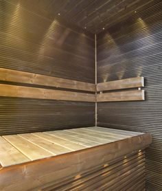 sauna, kivan värinen Sauna Steam Room, Sauna Room, Outdoor Sauna, Outdoor Decor, Sauna Lights, Sauna Ideas, Sweat Lodge, Finnish Sauna, Spa Rooms