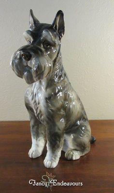 Vintage Large Shafford AKC Kennel Club Miniature Schnauzer Dog Figurine Snatty #Shafford