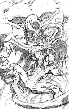 yet another spiderman venom piece. Spidey and Venom Comic Book Heroes, Comic Books Art, Comic Art, Marvel Art, Marvel Comics, Marvel Ultimate Spider Man, Comic Pictures, Comic Pics, Spiderman Art