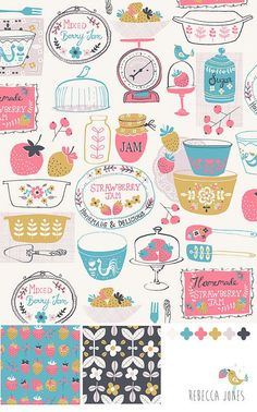 inga wilmink   Lovely nostalgic print - pretty colours and a completely original ...