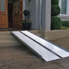The new EZ - Access 3 ft Suitcase Ramp Signature is made of heavy-duty, light weight air-craft grade aluminum.This suitcase style folding wheelchair ramp is designed specifically for ease of use. Portable Ramps, Handicap Ramps, Scooter Ramps, Ramp Design, Access Ramp, Suitcase, Outdoor Decor, Houses, Courtyards