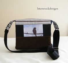 Messenger Bag with Bird Photo and Patchwork by lstonerockdesigns, $35.00