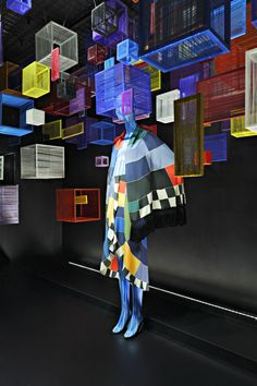 A Karl Lagerfeld for Chloé ensemble in the Barneys windows colorful impact
