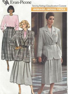 Evan Picone Womens Lined Jacket, Below Knee Skirt & Blouse Butterick Sewing Pattern 5777 Size 12 14 16 Bust 34 36 38 UnCut 80s Fashion, Fashion History, Fashion Brands, Vintage Fashion, Fashion Designers, Vintage Dresses, Vintage Outfits, Evan, Motif Vintage
