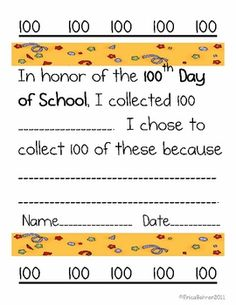100th Day! make one like this to send home