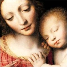 Detail from 'Madonna and the Sleeping Child' (1532) by Italian Renaissance painter, Bernardino Luini (1480-1532). I think that this is one of my favorite paintings of Madonna & Christ Child. The faces are so natural and serene.