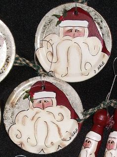 Hand Painted Santa Ornaments On Canning Jar by CaneBottomCrafts, $3.00
