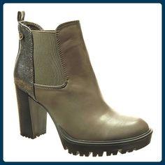 Angkorly - damen Schuhe Stiefeletten - Chelsea Boots - glänzende - Nieten - besetzt Blockabsatz high heel 9.5 CM - Grau F-212 T 41 - Stiefel für frauen (*Partner-Link)