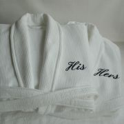 His & Hers Bathrobes. These organic cotton spa robes make the perfect wedding gift for newlyweds! £99 each.