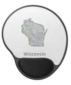 Wisconsin map gel mouse pad $14.35 *** Colorful line art design map of Wisconsin state. - gel mouse pad