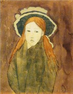 Little girl wearing large hat - Gwen John - : Bristol City Museum and Art Gallery Painting Of Girl, Painting & Drawing, Life Drawing, Gwen John, Post Impressionism, Inspiration Art, Collaborative Art, Henri Matisse, Illustrations