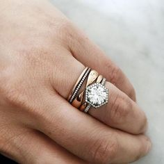 Eva Fehren's Edgy & Modern Stackable Wedding Rings ~ love this mixed metal stack! The Premier + The Kissing Claw + The Line Band Stack #beautifuljewelryrings
