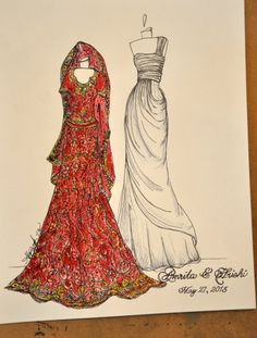 Sari & Gown Personalized Wedding Sketch by abgraham on Etsy, $130.00, indian bridal gift