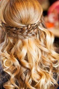 Braided Curled Half-Up Wedding Hairstyle   Sara Joy Photography https://www.theknot.com/marketplace/sara-joy-photography-colorado-springs-co-950990   J Gregory Salon