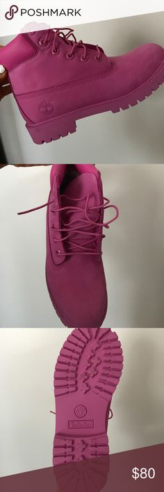 Pink Timbs Worn inside once for 1 hours so this means they are brand new. No box. Timberland Shoes Ankle Boots & Booties