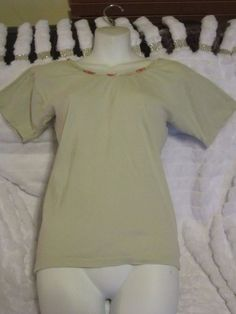Mint green tee shirt With Pink floral trim Womens One Size Fits All #sharronFancyscripthardtoread #Teeshirt #Casual