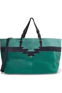 Teal leather, midnight-blue and turquoise suede Snap-fastening tab at open top Weighs approximately 2.2lbs/ 1kg Imported