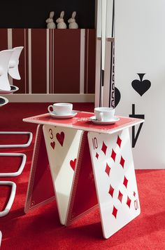 Alice In Wonderland Themed Side Table With Playing Cards