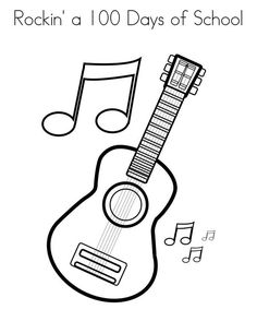 guitar coloring pages print. For acoustic music fans, you must be familiar with stringed or stringed strings on an instrument called a guitar. Yes, hearing this type of musical in. School Coloring Pages, Coloring Pages To Print, Coloring Book Pages, Free Coloring Sheets, Free Printable Coloring Pages, Coloring Pages For Kids, Free Printables, Guitar Crafts, Teaching Colors