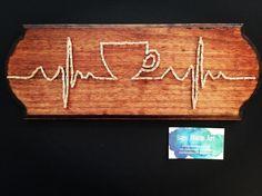 Coffee Cup String Art Medical EKG Pulse Heart Thread