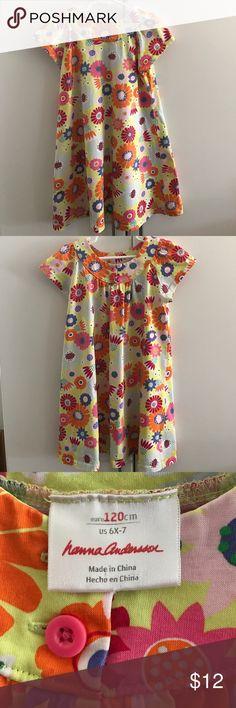 Authentic Hanna Anderson dress Size 6x-7, 100% Cotton, EUC bright color pattern Hanna Andersson Dresses