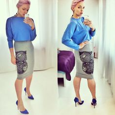 blue blouse with long sleeves and the owl print skirt