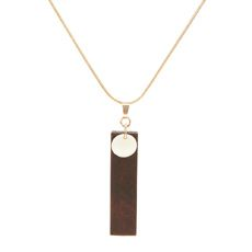 Dark Wood and Pearlized Shell Pendant