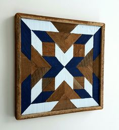 """13 x 13"""" square or can be hung as a diamond. comes in light and dark blue, dark pink and light pink, dark green and light green and dark gray and light gray. Looks great with all four together. by Michael Hutton Reclaimed Wood Wall Art, Wood Wall Decor, Wooden Wall Art, Wood Mosaic, Mosaic Wall Art, Barn Quilt Designs, Farm Quilt, Rustic Art, Wood Patterns"""