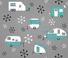Julie\'s Campers Turquoise/ch - juliesfabrics - Spoonflower