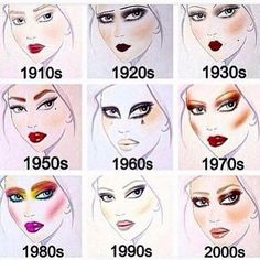 Retro Makeup Makeup Decades - Decade makeup starting in 1910 and going all the way until now. Looks based off of an artist rendering of each decade's makeup trends! Retro Makeup, Vintage Makeup, Diy Makeup, Makeup Inspo, Beauty Makeup, Rockabilly Makeup, 1950 Makeup, 80s Makeup Trends, Makeup Ideas