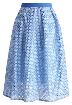 Meadow of Joy Midi Skirt in Indigo Blue - New Arrivals - Retro, Indie and Unique Fashion