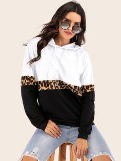 Shop for Hoodies and Hooded Sweatshirts Damen Sweatshirts, Hooded Sweatshirts, Fleece Hoodie, Sweat Shirt, Emma Clothing, Leopard Fashion, Colorful Hoodies, Printed Leggings, Pulls